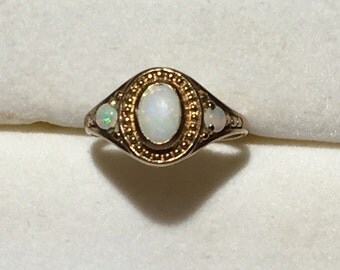 Vintage Opal Ring. 3 Oval White Opals in 9K Yellow Gold. Pinkie Ring. Childs Ring. Estate Jewelry. October Birthstone. 14th Anniversary.