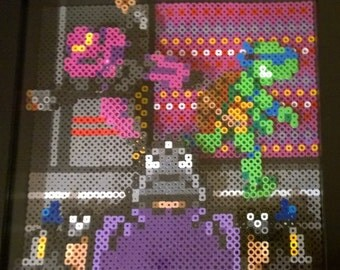 Turtles in Time, perler bead, shadow box