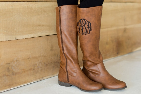Monogrammed Boots - Monogrammed Fall Boots - Personalized - Black and Brown