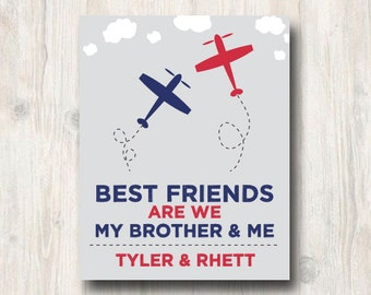 Brothers Print | Playroom Decor Print | Boy Room | Twin Brother Sign | Nursery Decor | Baby Gift