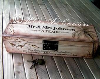 Engraved Wine Box, Custom Wedding Wine Box, Personalized Box, Beach Wedding, Anniversary, Time Capsule, Palm Trees, Birthday, Keepsake Box