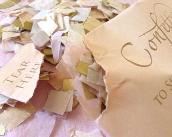 Soft Blush Champagne Gold Confetti Envelopes Biodegradable Wedding Confetti Personalised Packets Sachets