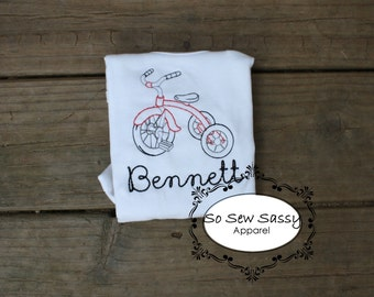 Vintage/Sketch Red Tricycle with name Bodysuit