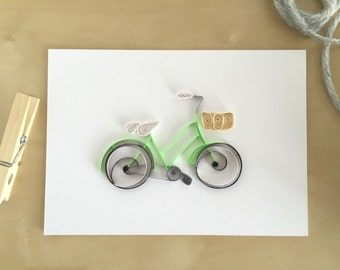 Quilling Paper Bright Green Bicycle Decor, Lime Green Bike Art, Neon Green Decor, Gift for Bike Enthusiast, Green Bike Straw Basket Art