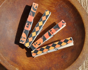 Halloween Magnet Clips, Altered Wooden Clothespins, Clothespin Kitchen Magnets, Decorative Clothespins, Magnetic Clothespins