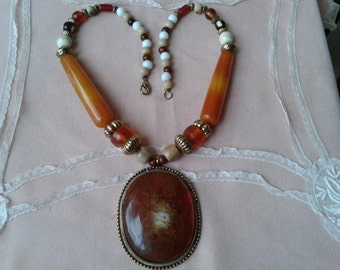 "Beautiful necklace ""Amber"" of the 1960s."