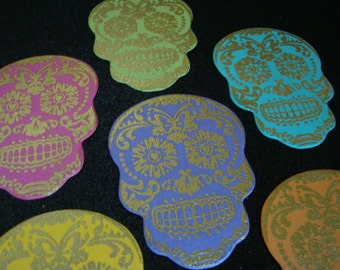 Six Gold Heat Embossed Day of the Dead Inspired Die Cut Sugar Skulls  ~ Dia de los Muertos Die Cut Skulls