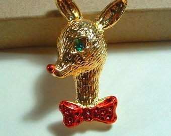 1960's Signed AAI Vintage Christmas Gold Plated REINDEER  Brooch Pin Figural