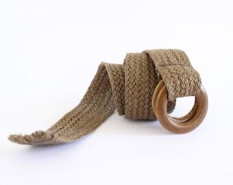 vegan boho vintage belt/ wide woven cotton belt/ natural linen belt