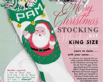 Kit for Vintage Santa Merry Christmas Stocking with 100% PURE WOOL w/ free pattern