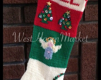 Kit for Vintage Personalized Hand Knit Christmas Tree and Angel Stocking with 100% PURE WOOL