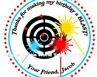12 Personalized Laser Tag Birthday Party Favor Thank You Tags Or Stickers You Choose