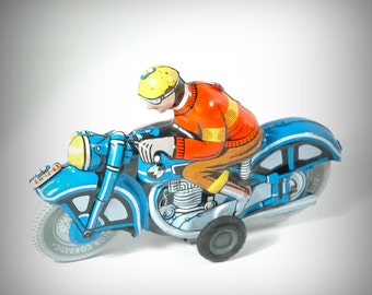Vintage 1960s Tin Friction Motorcycle by Lemez Toys | Vintage Toys