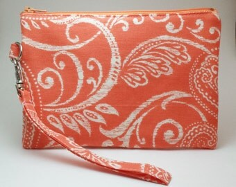 SALE! Coral Padded Wristlet, Small Coral Pouch, Orange Paisley, Coral Zipper Pouch, Padded Pouch, Orange Phone Wristlet, Gift for Her
