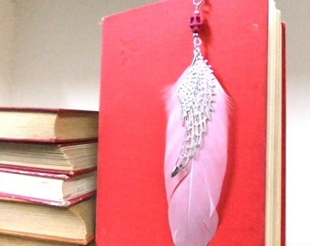 Pink Skull and Feather Bookmark, White Feather Bookmark, Silver Feather Bookmark, Pink Bookmark, Booklovers, Student Gift, Teachers Gift