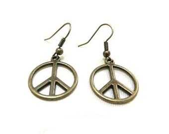 Bronze Peace Earrings, Peace Sign Earrings, Peace Jewelry, Gift, Peace Symbol, Bronze Earrings, Simple Earrings, Hippie, Boho Jewelry