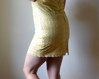 60s Handmade Pale Yellow Eyelet Dress