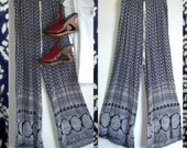 Vtg. Dizzire Indigo India Palazzo Pants~ 100% super soft Rayon ~ Made in India ~ Marked Medium, But See Dimensions