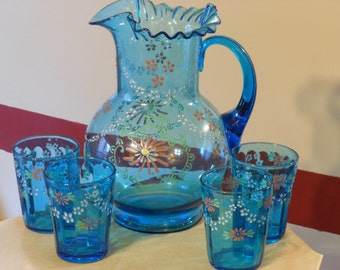 Blue Handpainted Ruffle Top Pitcher with Four Glasses