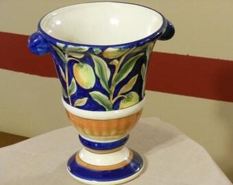 Dark Blue Asian-Theme Floral Vase