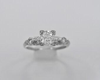 Antique Engagement Ring .75ct. Diamond & Platinum Art Deco - J35965