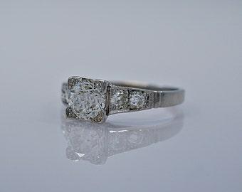1.21ct. Diamond & Platinum Art Deco Engagement Ring- J34447