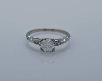 0.93ct. Antique Platinum & Diamond Art Deco Engagement Ring- J33079