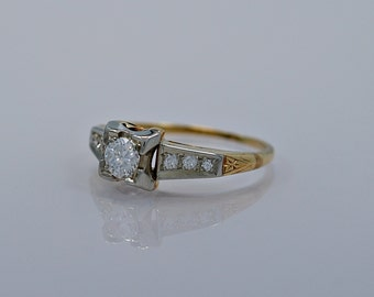 0.25ct. Diamond & Yellow/White Gold Art Deco Engagement Ring- J34354