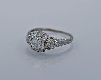0.90ct. Diamond & Platinum Art Deco Engagement Ring- J34397