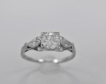 Antique Engagement Ring .91ct. Diamond & Platinum Art Deco - J34016