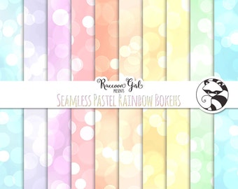 Seamless Pastel Rainbow Bokeh Digital Paper Set - Personal & Commercial Use