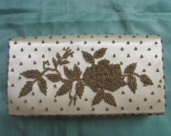 Vintage  off white satin beaded  clutch purse, Hong Kong hand beaded 50's evening bag bridal wedding