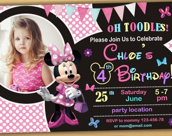 Minnie mouse Birthday Invitation, Minnie mouse Invitation, Minnie mouse chalkboard invitation- Digital file