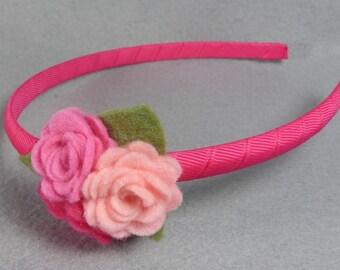 Felt Flower Headband Made-To-Order, Pink Felt Headband, Hard Headband, Girls Headband, Baby Headband, Womens Headband, Head Band