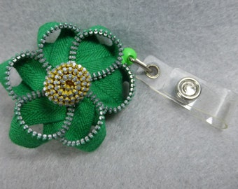 Green Flower ID Badge Reel -Zipper-Name Badge Holder -Upcycled-Recycled - Repurposed - ID Badge Holder - Retractable Badge Reel - Badge Clip