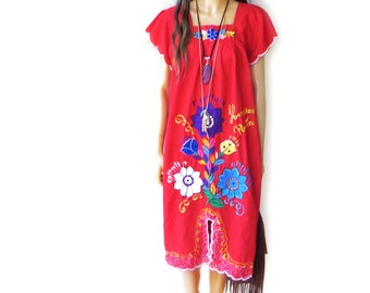 Baja Dress // vintage 70s cotton floral embroidered tunic top shirt ethnic boho hippie Mexican mini blue hipster rainbow // free size