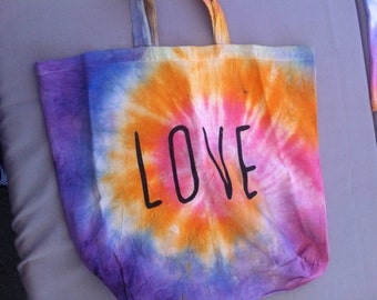Love Tie Dyed Canvas Bag