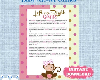 Beautiful Monkey Be Girl Left Or Right Baby Shower Game   Instant Download   Monkey  Girl Baby
