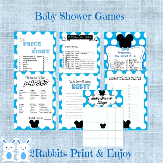 mickey mouse baby shower games package seven printable games name race