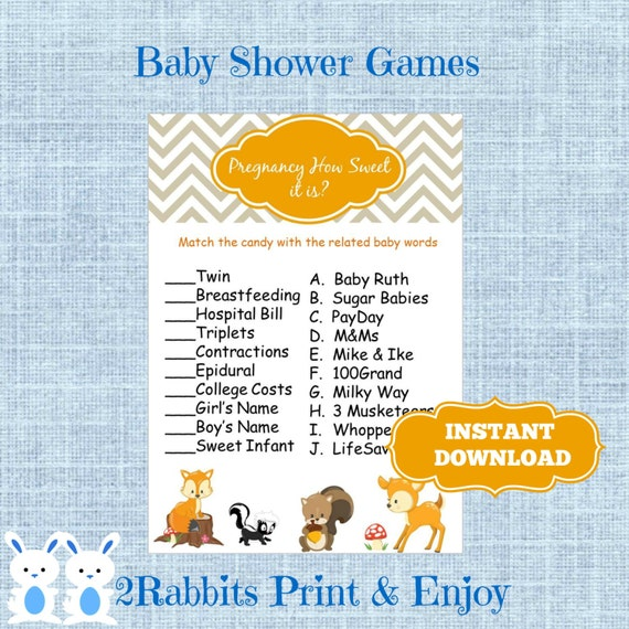 ... Animal Candy Match Baby Shower Game with Answers - Instant Download