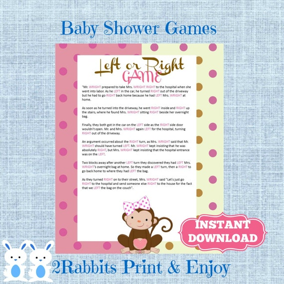 monkey girl baby shower left right baby shower game instant download