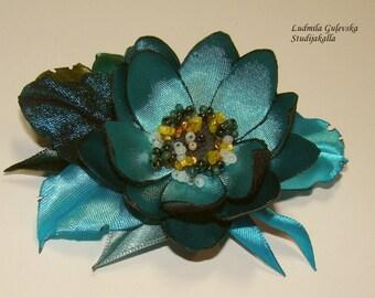 Handmade aeruginous satin flower brooch, flower pin, embroidered flower, blue flower