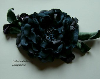 Handmade gray satin flower brooch, gray flower  pin