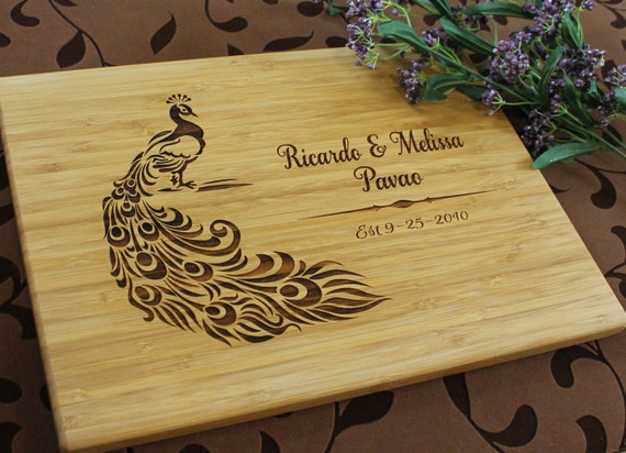 Kitchen Wedding Gifts: Personalized Cutting Board Peacock Wedding Present Anniversary