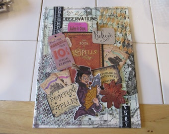 Canvas,Mixed Media Canvas Art,painting,Wall Art,Canvas Art,Mixed Media Collage,wall art canvas,Steampunk, Fortune Teller, Art, Wall Hanging