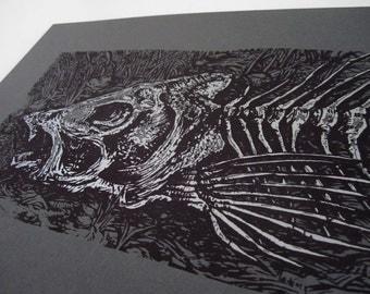 Skeletal Trout — Silver — Silkscreened art print