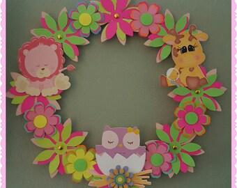 animals wreath, door hospital, welcome baby, adorno para la puerta, decoracion puerta, its a girl, decoracion cuarto, bebe, nina, girl