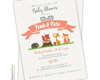 Woodland Coed Forest Baby Shower Invitation - Hedgehog - Deer - Fox - Owl - Squirrel - DIY (PDF or JPEG)