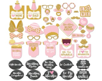 47 Adorable Pink And Gold Glitter Baby Shower Photo Booth Props   INSTANT  DOWNLOAD   DIY