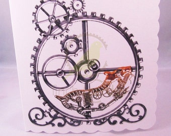 Steampunk Hamster in a Wheel Blank Card, Hamster Card, Steampunk Card, UK